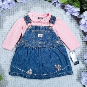 2/$24 OshKosh embroidered denim overall dress